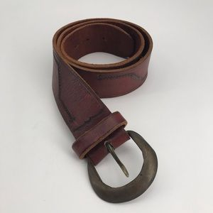Vintage Brass Buckle Leather Belt